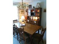 Dining table + 6 chairs + dresser with lights