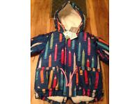 Brand New Next Baby Girls 12-18 Months Pencil Pattern Blue Shower Resistant Jacket RRP £32