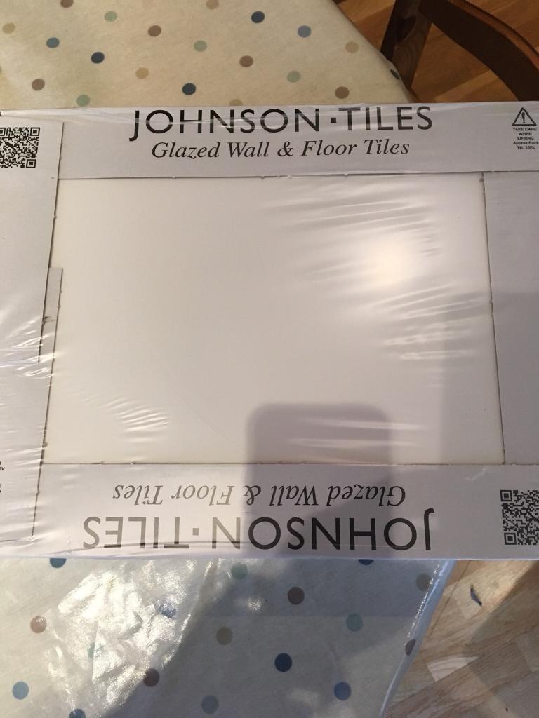 Box of 10 large white glazed floor/wall tiles