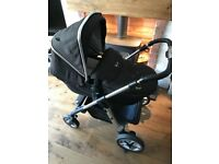 Silver cross pioneer chassis, pramtop, pushchair, 1 hood and 1 apron, raincover