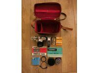 Vintage Prinzflex 500 camera Prinz Jupiter flashgun Hanimex light meter kit