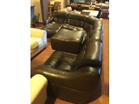 large, low, real leather corner suite