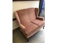 Dusky Pink Quality Queen Anne Style Highback Sofa. Excellent Condition. Can Deliver.