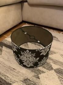 Black and silver damask light shade