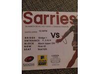 2 x Saracens v Harlequins tickets 24th March London Stadium £60