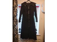 Black full length coat with buckles