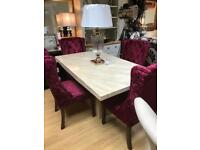 Stunning crema marble dining table with crushed velvet chairs