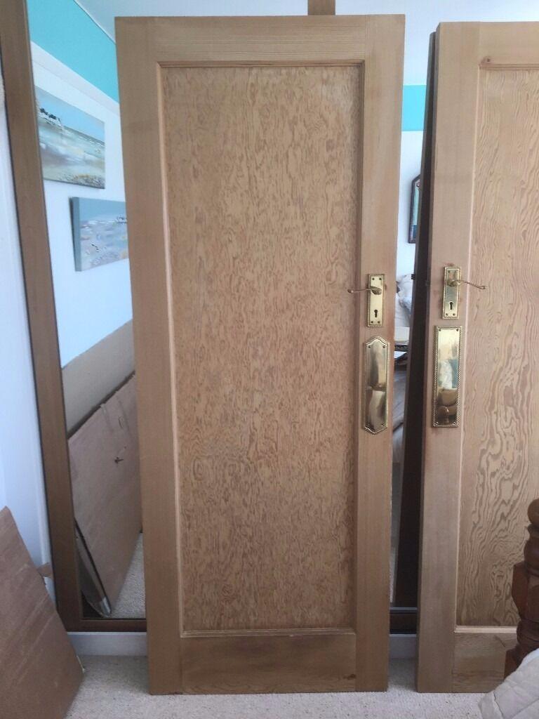 7 x original 1930s stripped pitch pine single panel doors for 1930s front door furniture