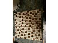 cream and brown mosaic tiles