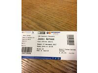 2 x james Arthur tickets