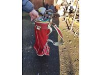 Golf clubs and bag .3 tier ladders 38patio slabs .weight bench .flah rider and power washer