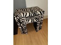 Leather zebra print set of 3 tables