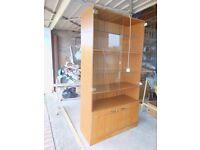 Teak Wood-effect Glass Display Cabinet
