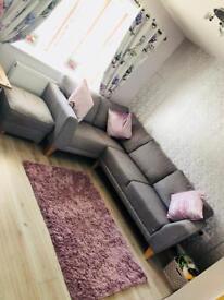 Harveys Fabric Sofa & Matching Storage Foot Stool