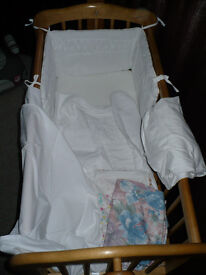 Mothercare White Pleat Crib Bale (bumper, coverlet, flat sheet) plus extra handmade covers. Was £30