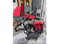 Red pram 3 in 1 with buggy board