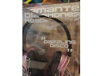 brand new boxed pink diamante headphones from satzuma box broken but headphones perfect
