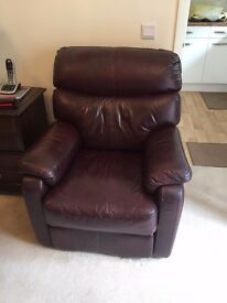 Leather Suite - 2 Electric Reclining leather armchairs, 1 Leather 2 seater sofa.