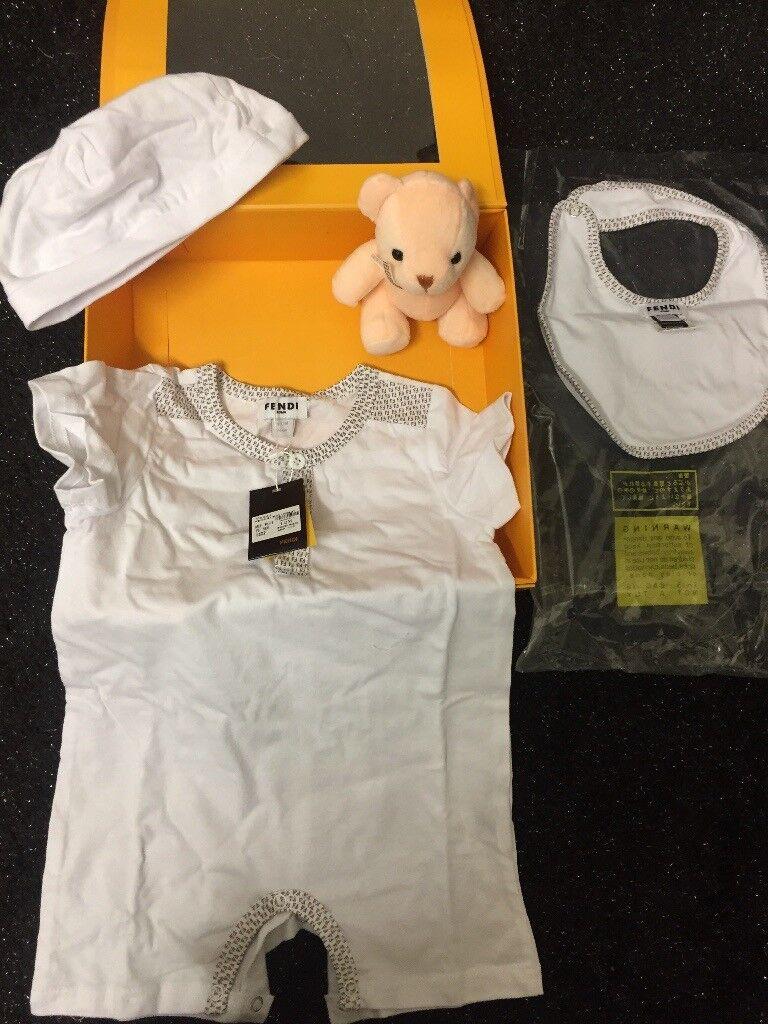 6fe47da2e743f UNISEX DESIGNER BABY BOY BABY GIRL FENDI GIFT SET BABY GROW BIB HAT TEDDY  GIFT BOXED