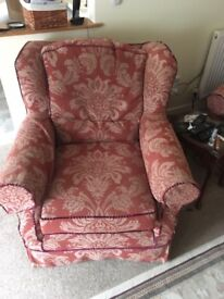 Multiyork sofa and chair with spare covers some cat damage but in good order fire certificate