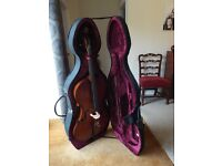 SUPERB VINTAGE ENGLISH FULL SIZE CELLO - HARD CASE & BOW - SET UP TO PLAY PROFESSIONAL