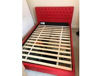 Leather bed frame double red