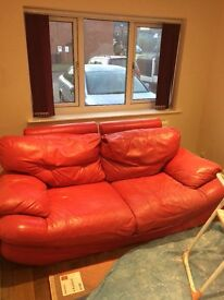 Read leather sofa