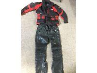Men's Biker Jacket size medium & Men's black leather trousers medium