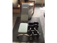 York fitness bench and Dumbbells (87k incl bars) in perfect condition