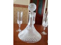 Crystal/ cut glass decanter & glasses