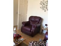 3 seater leather sofa and two chairs