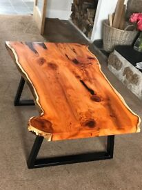 Handmade Solid Yew coffee table