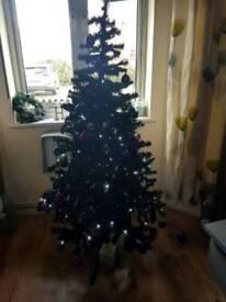 Christmas tree 6ft pre lit black artificial