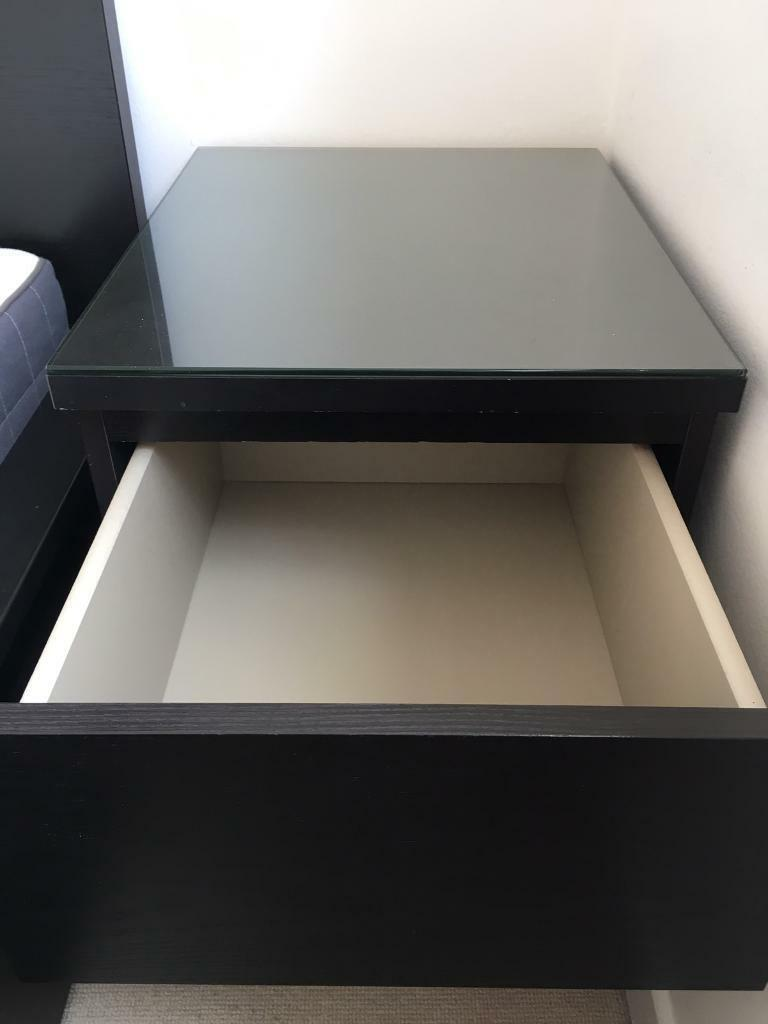 Ikea Malm Chest Of 2 Drawers Bedside Table W Glass Top Black Brown 40x55 Cm In Tower Hamlets London Gumtree