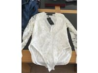 Ladies white bodysuit brand new with tags from boohoo size 8