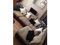 GOLD AND BROWN RIGHT HAND CORNER SOFA
