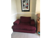 Dark red fabric love seat sofa for sale - collection only North Tyneside