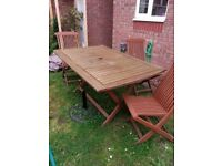 Kent collapsible 6 seater wooden patio sent, three chairs - used with cover for extra