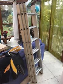 3 tier triple extension ladders aluminium with feet