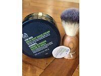 Brand new. The Body Shop men's wooden shaving brush and shaving cream