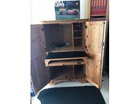DUCAL Pine Computer Cupboard/Cabinet/Desk