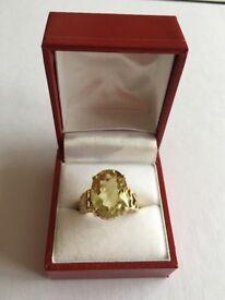 9K Lemon Citrine Yellow Gold Ring. Size N