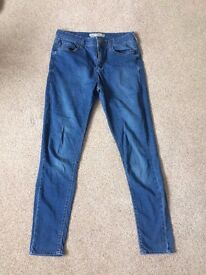 TOPSHOP SUPER SOFT BLUE DENIM LEIGH JEANS- £10- 30 waist, 30 length