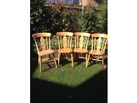4 Pine fiddle back chairs
