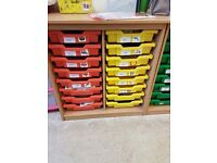 Unit of children's classroom drawers