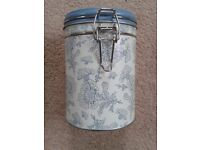 CREAM & BLUE PATTERN CANISTER - BRAND NEW
