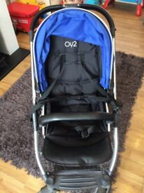 Oyster Max- Electric Blue. Comes with rain covers and cyber car seat and vib cover.