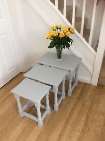 Chalk painted solid oak nest of tables(3)