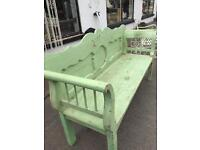Large old painted pine bench