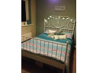 King size bed and new memory foam mattress. Shabby Chic style frame
